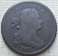 1806 DRAPED BUST HALF CENT - SHIPS FREE.