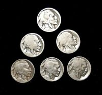 LOT OF 6  - BUFFALO FIVE CENT- SILVER - VARIOUS DATES - GOOD CONDITION