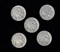 LOT OF 5 1928 - BUFFALO FIVE CENT- SILVER -  GOOD CONDITION