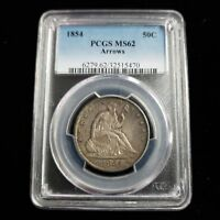 1854 US SEATED LIBERTY SILVER HALF DOLLAR PCGS MS62 50C WITH