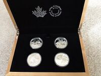 2015 CANADA NORTH AMERICAN SPORTFISH COLLECTION 4 1OZ SILVER PROOF COINS WOODEN