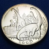 1993 HUTT RIVER PROVINCE $10 GIANT DINOSAUR PROOF COIN   .999 SILVER OVER BRASS