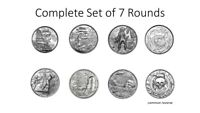 COMPLETE SET OF 7 2OZ SILVER HIGH RELIEF PRIVATEER ROUNDS CAPTAIN PLANK SIREN