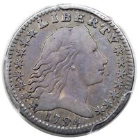 1794 FLOWING HAIR HALF DIME, LM-2, PCGS F12, LY TONED