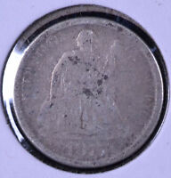 1875-CC 10C SEATED LIBERTY DIME BELOW BOW - G CLEANED