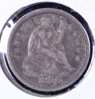 1856 10C SEATED LIBERTY DIME LARGE DATE - VF