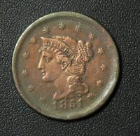 1851 BRAIDED HAIR COPPER LARGE CENT  FINE VF