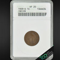 1909-S  1 INDIAN CENT  ANACS VF20    FINE  1366634