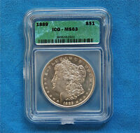 1889 MINT STATE 63 MORGAN DOLLAR, CERTIFIED BY ICG  .900 SILVER