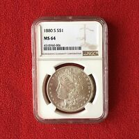 1880 S MINT STATE 64 MORGAN DOLLAR  GRADED BY NGC  0.900 SILVER