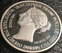 1990 VANCOUVER, BC CANADA $20.00 .999 SILVER TRADE DOLLAR GATEWAY TO THE PACIFIC