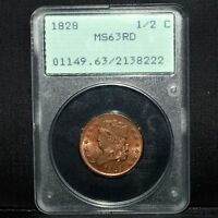 1828 CLASSIC HEAD HALF CENT  PCGS MS 63 RD  1/2C 13 STARS RED RATTLERTRUSTED