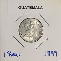 1899 GUATEMALA SILVER 1 REAL   NICE COIN W/ GREAT DETAILS
