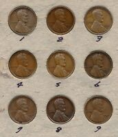 1920-S CIRCULATED LINCOLN CENTS LOT OF 9 COINS
