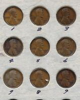 1916-S CIRCULATED LINCOLN CENT LOT OF 9 COINS
