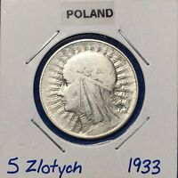 1933 POLAND SILVER 5 ZLOTYCH  Y 21    NICE ALL ORIGINAL COIN
