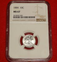 1884 10C NGC MINT STATE 67 HIGH GRADE GEM UNCIRCULATED UNC SEATED LIBERTY DIME TYPE COIN