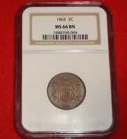 1865 2C NGC MINT STATE 66 BN TONED HIGH GRADE GEM UNCIRCULATED UNC TWO CENT TYPE COIN