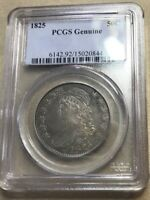 1825 S$0.50 CAPPED BUST HALF DOLLAR PCGS GENUINE . NICE