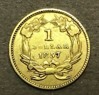 1857 $1 LIBERTY LARGE HEAD TYPE 3 NICE UNCLEANED GOLD COIN C