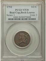 1793 HALF CENT. 1/2 C C-3, B-3, R.3, VF30 PCGS. FIRST-YEAR TYPE COIN.  COIN