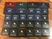 27 COIN LOT SILVER PROOF UNCIRCULATED COMMEMORATIVE COINS W/
