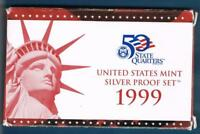 1999 S SILVER PROOF SET WITH BOX AND C.O.A.