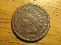 1877 1C INDIAN HEAD CENT BROWN AU ABOUT UNCIRCULATED DETAILS