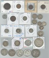 26 US OLD COINS CENTS 2&3CENT PIECE NICKELS DIMES QUARTERS H