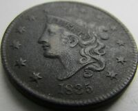 1832 CORONET HEAD LARGE CENT IN SAFLIP - HEAD OF 1936 - EXTRA FINE  DETAILS