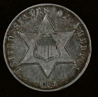 1861 3C SILVER THREE-CENT PIECE - ABOUT UNCIRCULATED PLUS