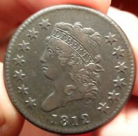 1812 CLASSIC HEAD LARGE CENT S-290 SMALL DATE VARIETY EARLY COPPER 1C TYPE COIN
