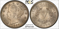 PCGS MINT STATE 66 CAC 1887 LIBERTY V NICKEL HIGH PLUS GRADE 5C  ONLY 3 FINER
