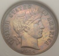 1904 10C NGC PF67 COLORFUL RAINBOW TONED TONING PROOF PR BARBER DIME TYPE COIN