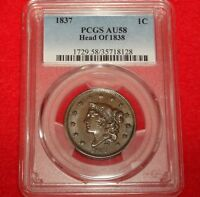 1837 1C PCGS AU58 CHOICE ALMOST UNCIRCULATED N-9 CORONET HEAD LARGE CENT VARIETY