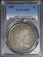 1802 DRAPED BUST DOLLAR PCGS VF-30