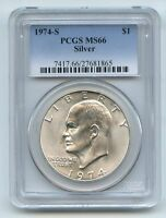 1974 S $1 SILVER IKE EISENHOWER DOLLAR PCGS MINT STATE 66