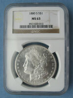 1880-S MORGAN SILVER DOLLAR - NGC GRADED MINT STATE 63 $1 UNCIRCULATED
