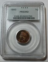 1900 PROOF INDIAN RED CENT PCGS PR63 RD