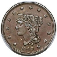 1840 BRAIDED HAIR LARGE CENT, SMALL DATE, N-1, PCGS AU53