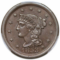 1853 BRAIDED HAIR LARGE CENT, N-11, PCGS MINT STATE 62BN