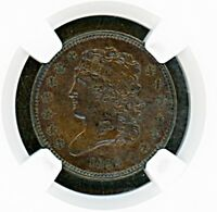 1835 CLASSIC HEAD HALF CENT NGC MINT STATE 62 BROWN  BEAUTIFUL SURFACES AND COLOR