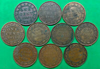 LOT OF 10 DIFFERENT OLD CANADA LARGE CENT COINS 1886 1920