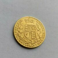 1846 GOLD SOVEREIGN COIN   EARLY VICTORIAN SHIELD   ERROR IN