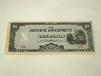 1942 JAPANESE GOVERNMENT OCCUPATION 10 PESOS WWII PHILIPPINES PAPER MONEY NOTE
