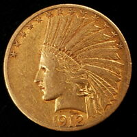 1912 S INDIAN HEAD GOLD EAGLE $10 TEN DOLLAR BEAUTIFUL COLLE