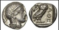 ANCIENT GREEK SILVER COIN TETRADRACHM ATHENS / OWL WITH PROV