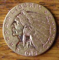 1915 INDIAN QUARTER EAGLE   $2.50 GOLD PIECE  GENUINE
