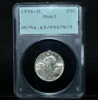 1926-D STANDING LIBERTY QUARTER  PCGS MINT STATE 63  25C SILVER RATTLER OGH TRUSTED