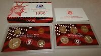 1999 US MINT SILVER PROOF SET WITH BOX & COA